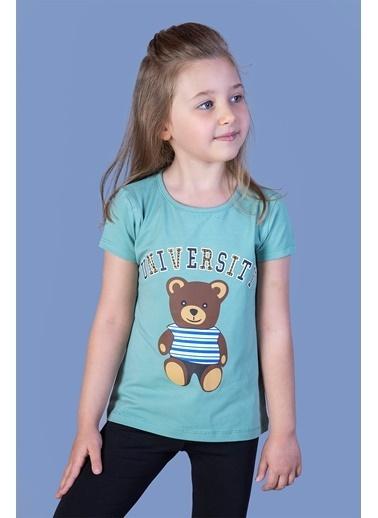 Toontoy Kids Toontoy Kız Çocuk Ayıcık Ve Yazı Baskılı Taş İşlemeli Tişört Yeşil